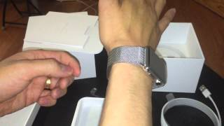unboxing apple watch 42mm stainless steel case with milanese loop bracelet
