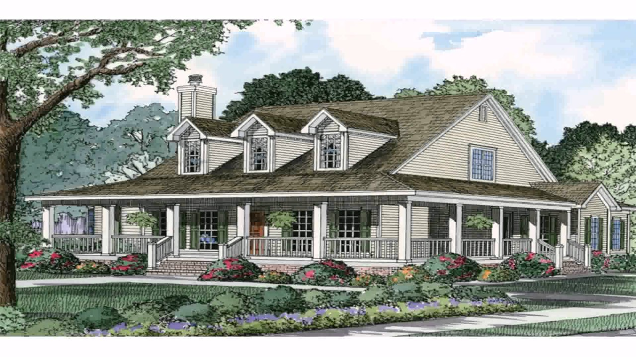 Ranch style house with wrap around porch plans youtube for Ranch house floor plans with wrap around porch