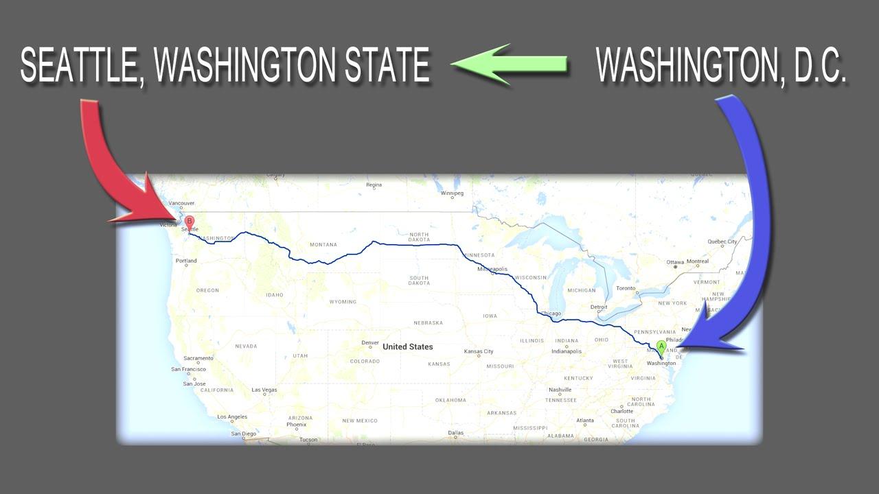Washington DC to Washington State with Google Earth
