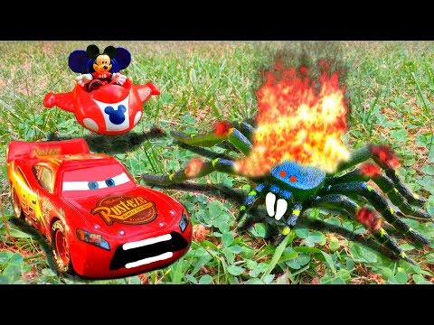 Thumbnail: Disney Pixar Cars Lightning McQueen Mater Mack Hauler Saved by Mickey Mouse Spider Attack Toy Movie