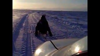 """Из серии """" колхозный экстрим """" 90 км/ч на санках !"""
