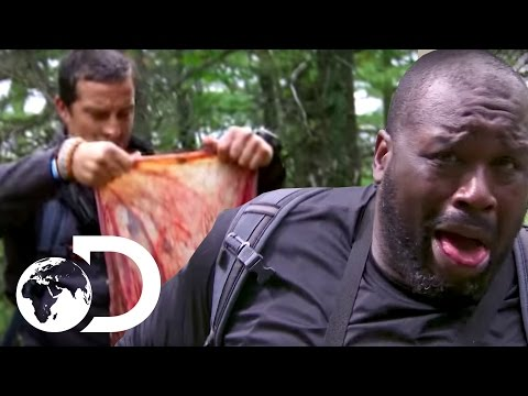 Shaquille O'Neal Stumbling Across A Placenta  Running Wild with Bear Grylls