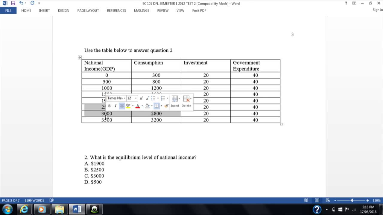 how to find equilibrium level of income
