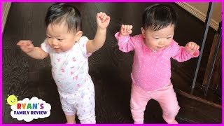 Twin Babies Walking for the First Time! Family Fun Daily Vlog with Ryan