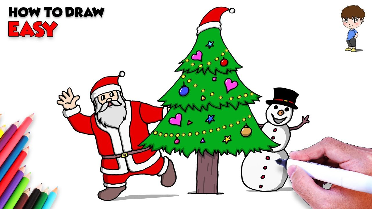 How to Draw Christmas Tree and Santa Claus w/ Snowman for ...