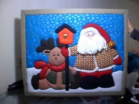 Cuadro navidad patchwork youtube for Cuadros de navidad