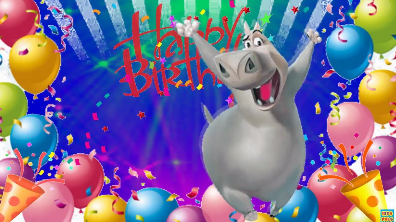 Funny Happy Birthday Song With Dancing Hippo