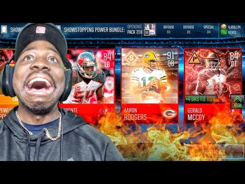 91 OVR AARON RODGERS & SHOWSTOPPERS PACK OPENING! Madden Mobile 18 Gameplay Ep. 9