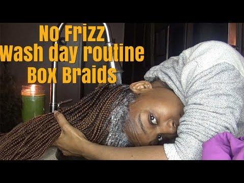 HOW TO WASH BOX BRAIDS NO FRIZZ /LAZY WAY