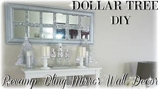 DIY BLING REVAMP MIRROR WALL DECOR | DIY DOLLAR TREE MIRROR WALL ART DECOR | HOME DECOR