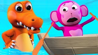 Row Row Your Boat 3D Rhymes | Crazy Crocodile | Kids Songs by All Babies Channel