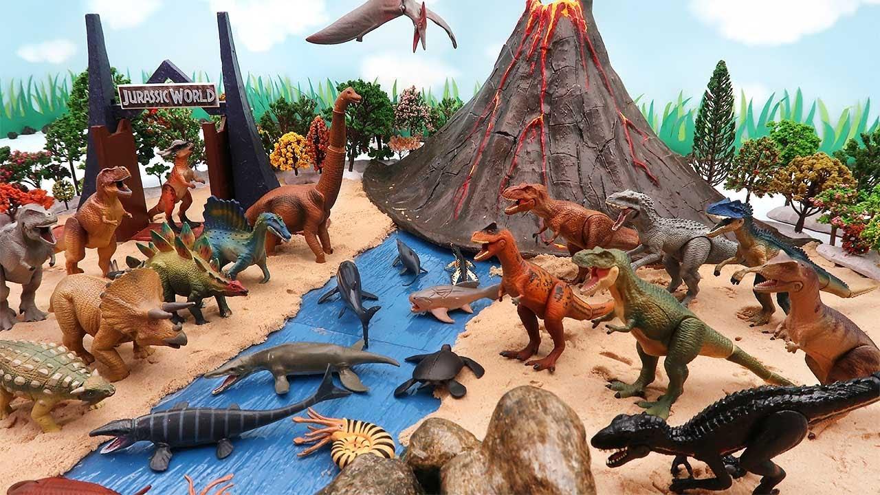 DIY Dinosaur Volcano World! Tyrannosaurus, Triceratops Real Dinosaur, Lego Dinos! 공룡 세계