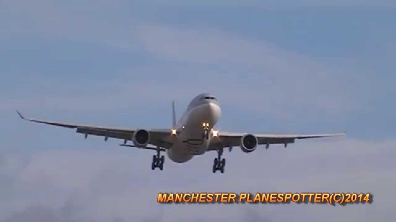 Qatar Airways A330 A7-AEM On QR23 Landing At Manchester ...  Qatar Airways A...