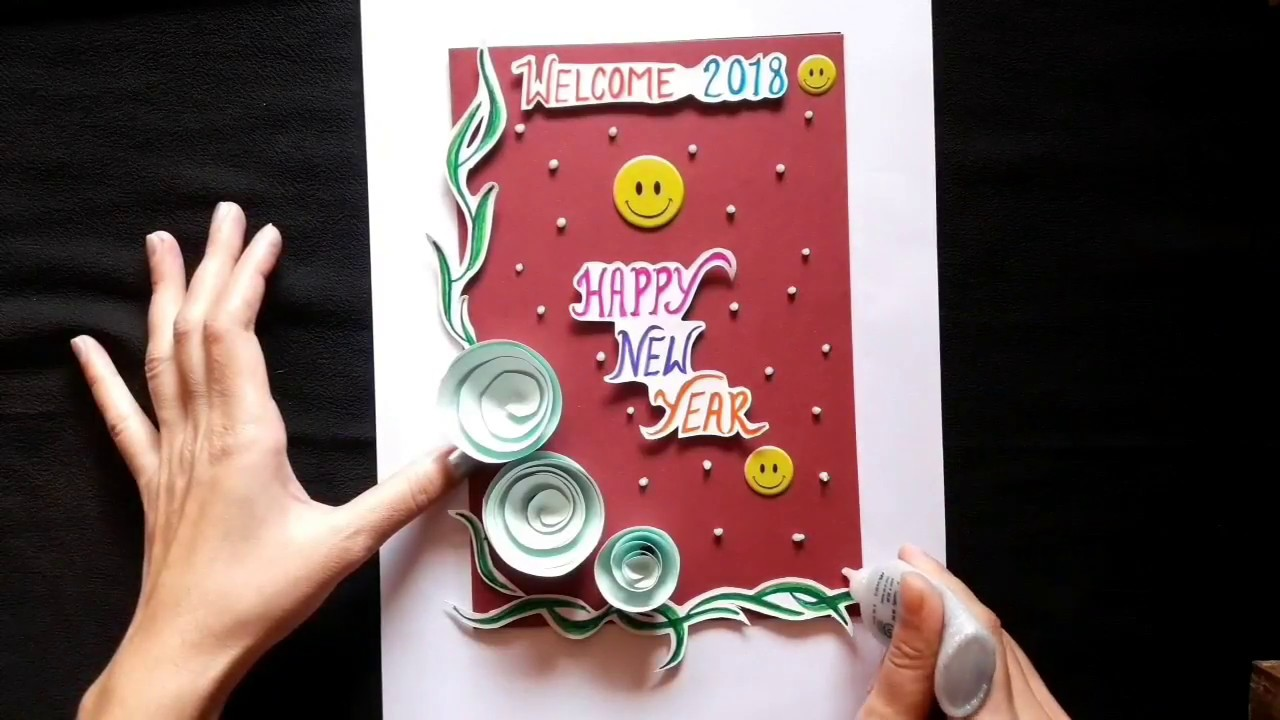 new year greeting card 2018 card idea for new year wishing easy making