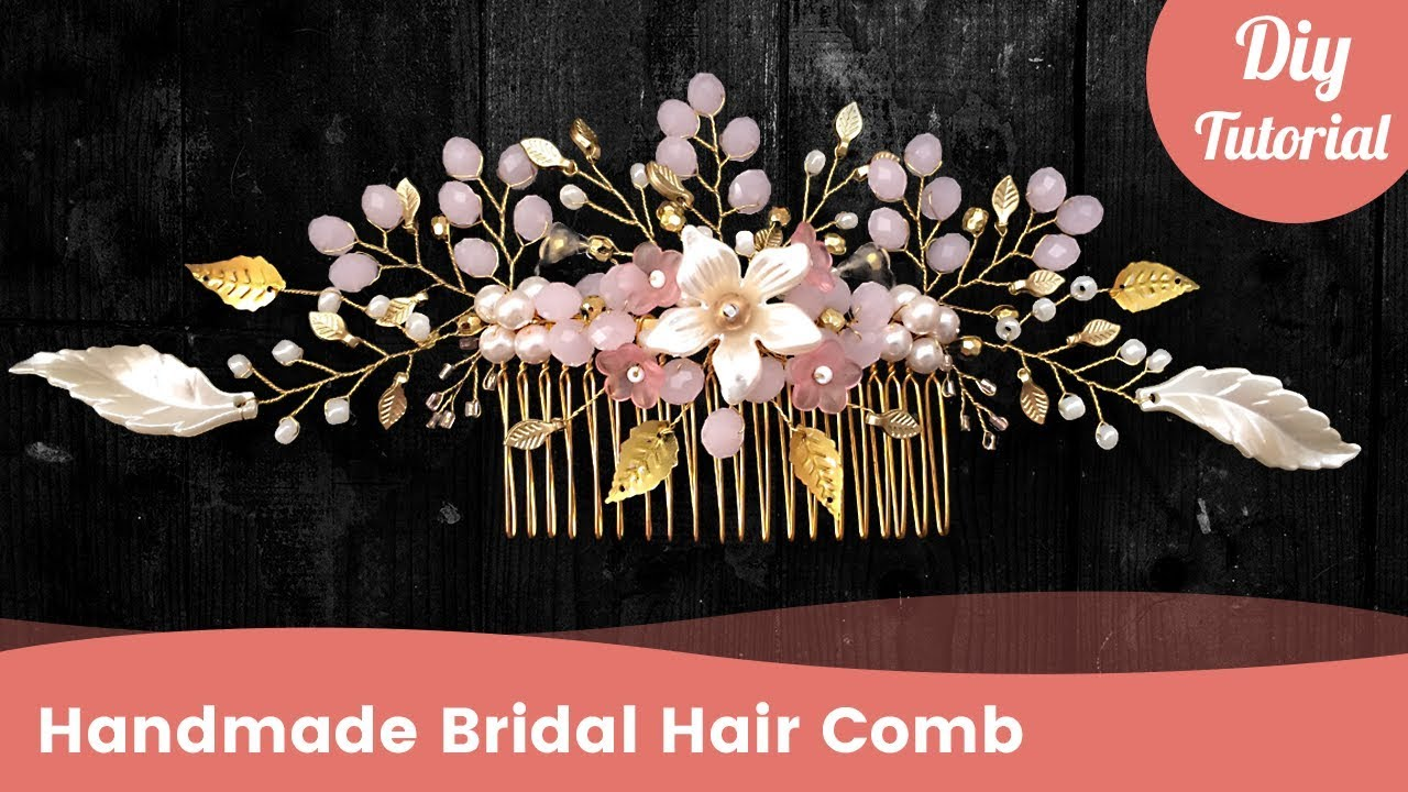 Diy golden bridal hair comb tutorial wedding hair accessories gilda jewelry handmade solutioingenieria Image collections