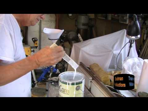 mixing paint filling a spray gun small shop spray painting part v. Black Bedroom Furniture Sets. Home Design Ideas