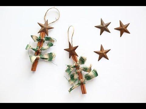 Primitive Homespun Fabric Cinnamon Christmas Tree Ornament Tutorial - Primitive Homespun Fabric Cinnamon Christmas Tree Ornament Tutorial