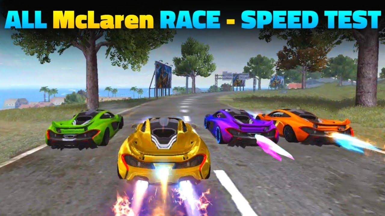 Free Fire All McLaren Speed Ability Test   McLaren VS McLaren - All McLaren Skin Race In Free Fire
