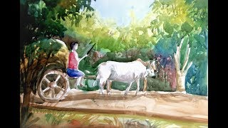 How to draw a Bullock cart step by step.
