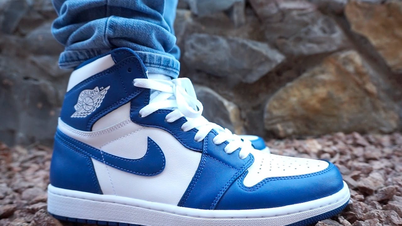 0472e311508f STORM BLUE JORDAN 1 UP CLOSE ON FOOT REVIEW ! - YouTube