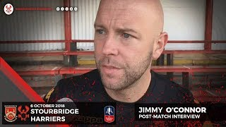 Jimmy O'Connor post-match: Stourbridge 3-2 Harriers 06/10/18