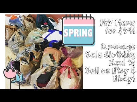 147 Items for $74, All 0.50 each! Rummage Sale Clothing Haul to Sell on Etsy & Ebay!