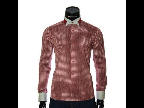 Мужская приталенная рубашка в клетку NP 1570