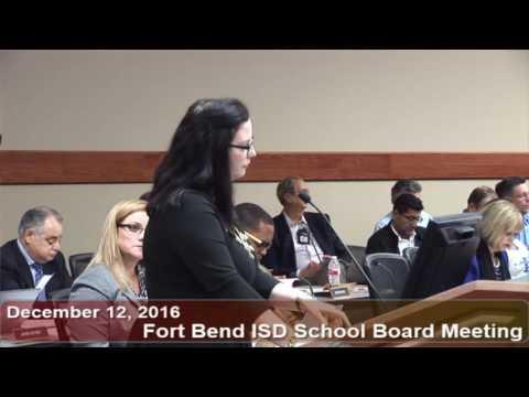 December 12, 2016 FBISD School Board Meeting Part 2