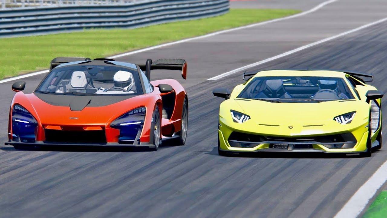 Mclaren Senna Vs Lamborghini Aventador Svj Monza Youtube