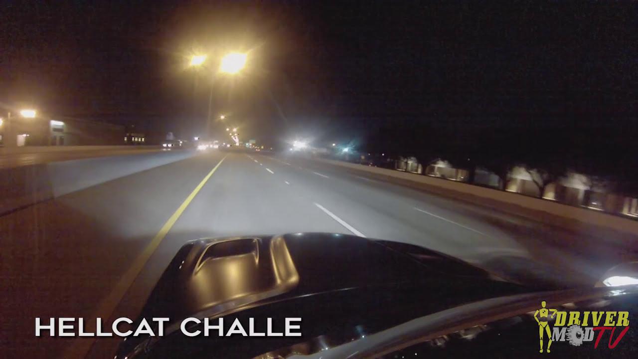 Corvette races in front of cop! HELLCAT vs GTR