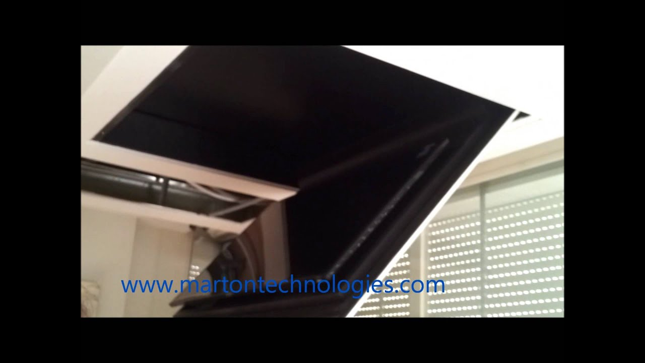 motorized silent ceiling flip fold down lift tv 55''. marton