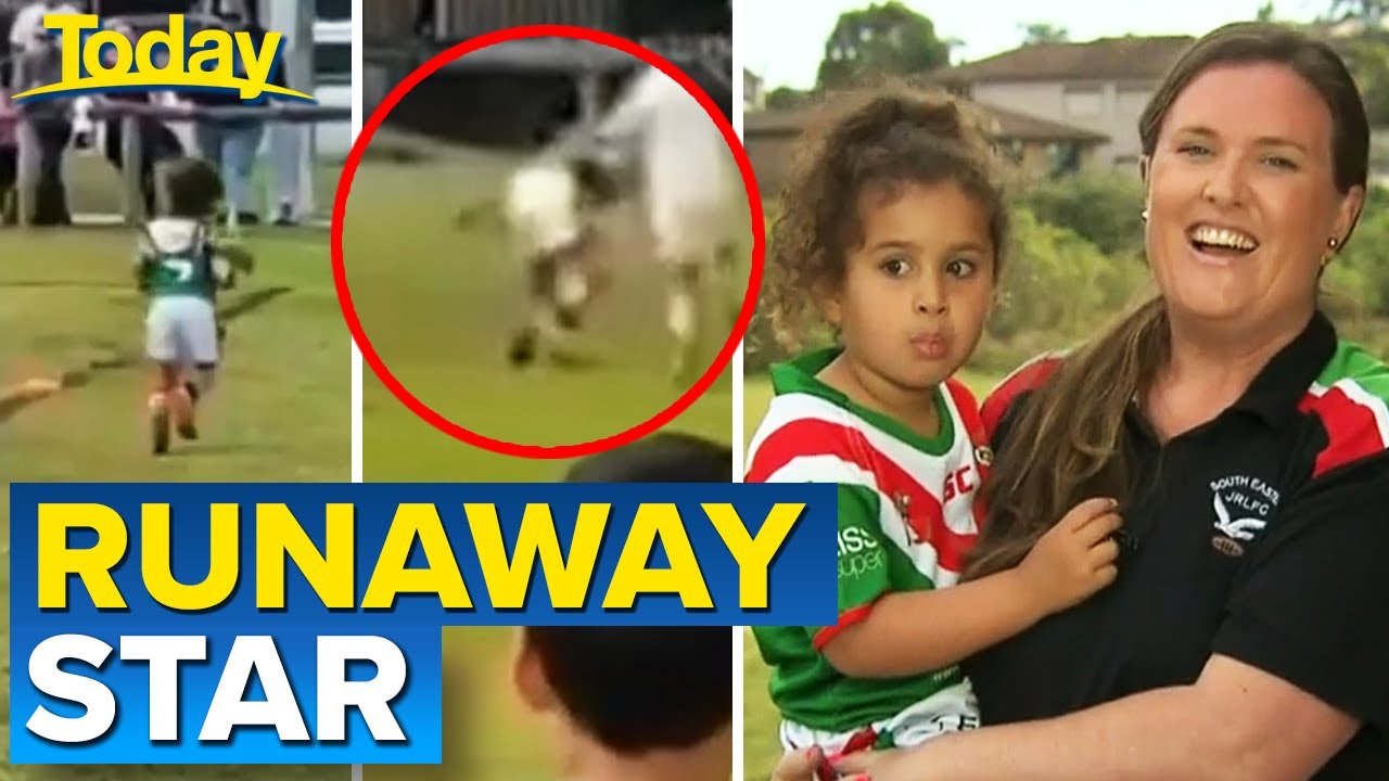 Runaway star captures hearts during footy game | Today Show Australia