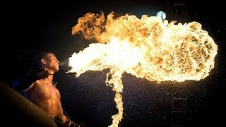 Фаер шоу  Как дышать огнем/ Fire Show How to breathe fire Moscow