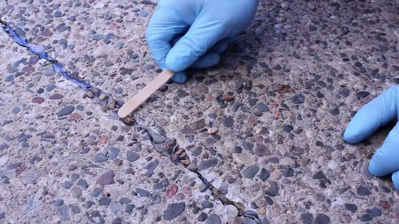 High Quality Exposed Aggregate Crack Repair In A Concrete Patio.   YouTube