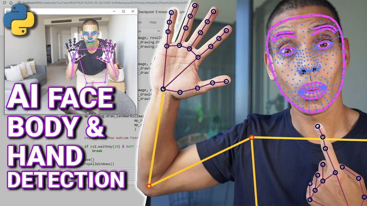 AI Face Body and Hand Pose Detection with Python and Mediapipe