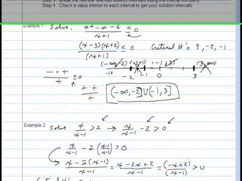 More Examples Solving Non-Linear Inequalities.wmv - YouTube