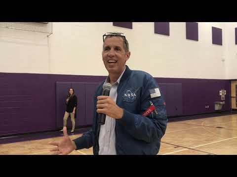 Speaking to students of Mechanicsburg Middle School