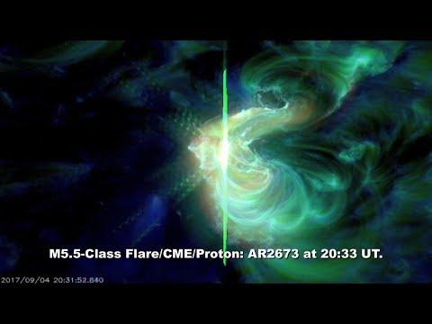 SOLAR ACTIVITY UPDATE: M5.5-Flare/Earth Halo CME, Proton. Sept. 5th, 2017.
