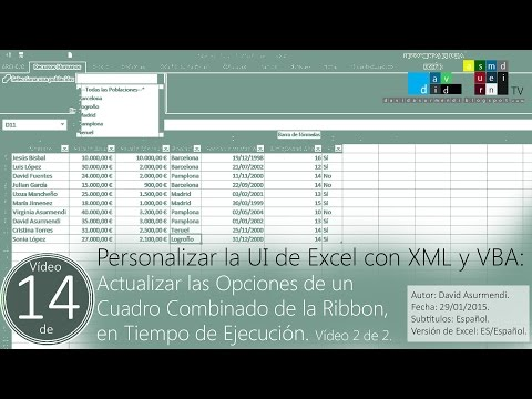 Actualizar Opciones Cuadro Combinado de la Ribbon en Tiempo de Ejecución. Vídeo 2 de 2.