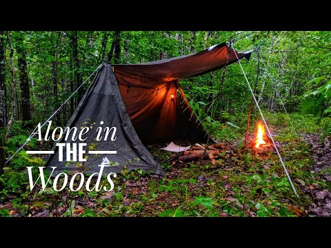 Caught In A Storm ALONE (25mm Heavy Rain)-Bushcraft Bucksaw, ATV Camping, Baker Tent, Campfire Cook