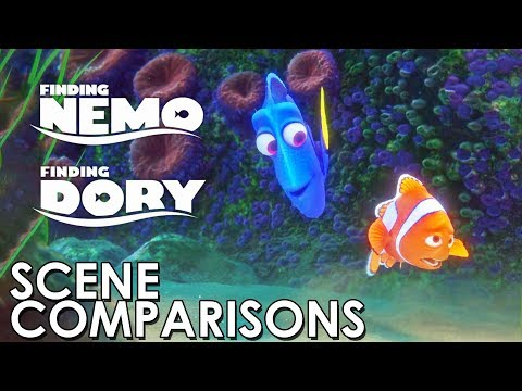 Finding Nemo (2003) and Finding Dory (2016) - scene comparisons