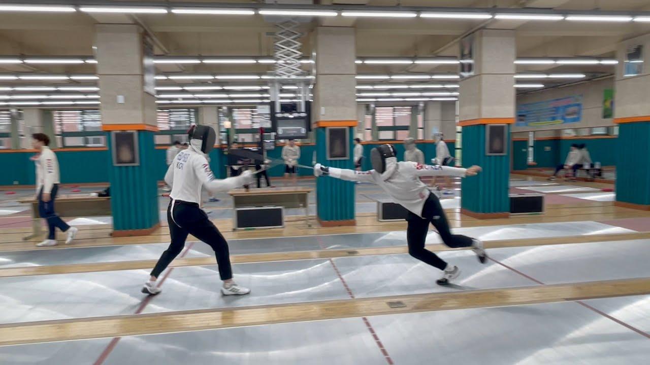 한국체대 펜싱선수들 연습 경기 5 point