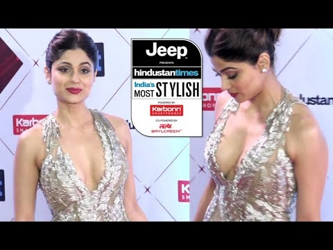 Shamita Shetty  Deep Neckline Dress At HT Most Stylish Awards 2018