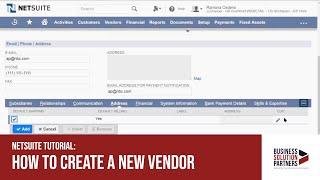 NetSuite Tutorial: How to Create a New Vendor