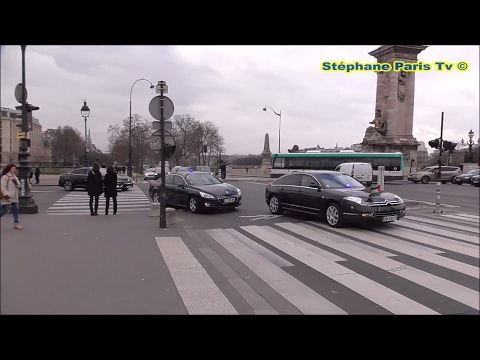 Police escort, President of the State of Palestine in Paris.