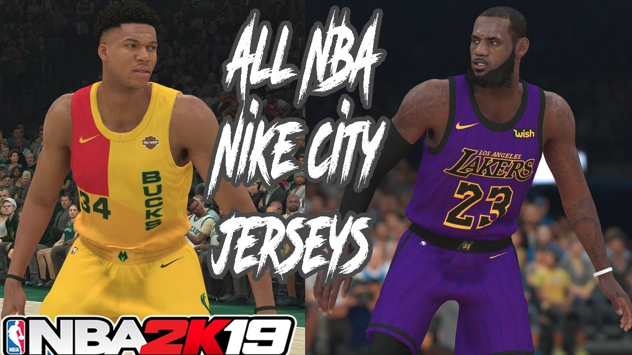 8610c88c2f4d NBA 2K19 All 30 NBA Team Nike City Edition Jerseys Update - YouTube