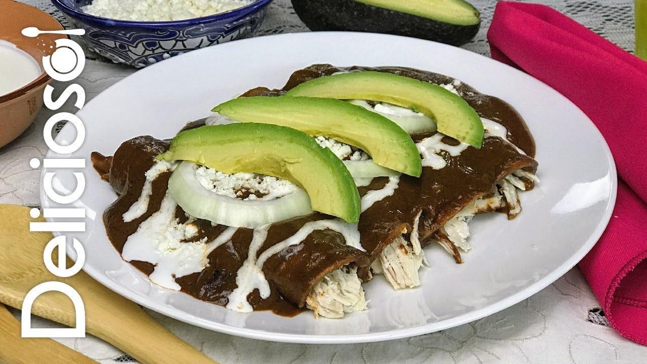 Enmoladas de Pollo - Enchiladas de Mole / DELICIOSO - YouTube
