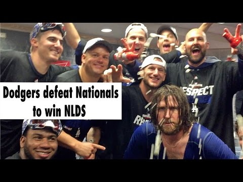 Dodgers celebrate a win in Game 5 of the NLDS over the Nationals