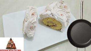 Learn How to Make 5 Min No Bake Fry pan Swiss Roll Cake by kitchen with Fatima with