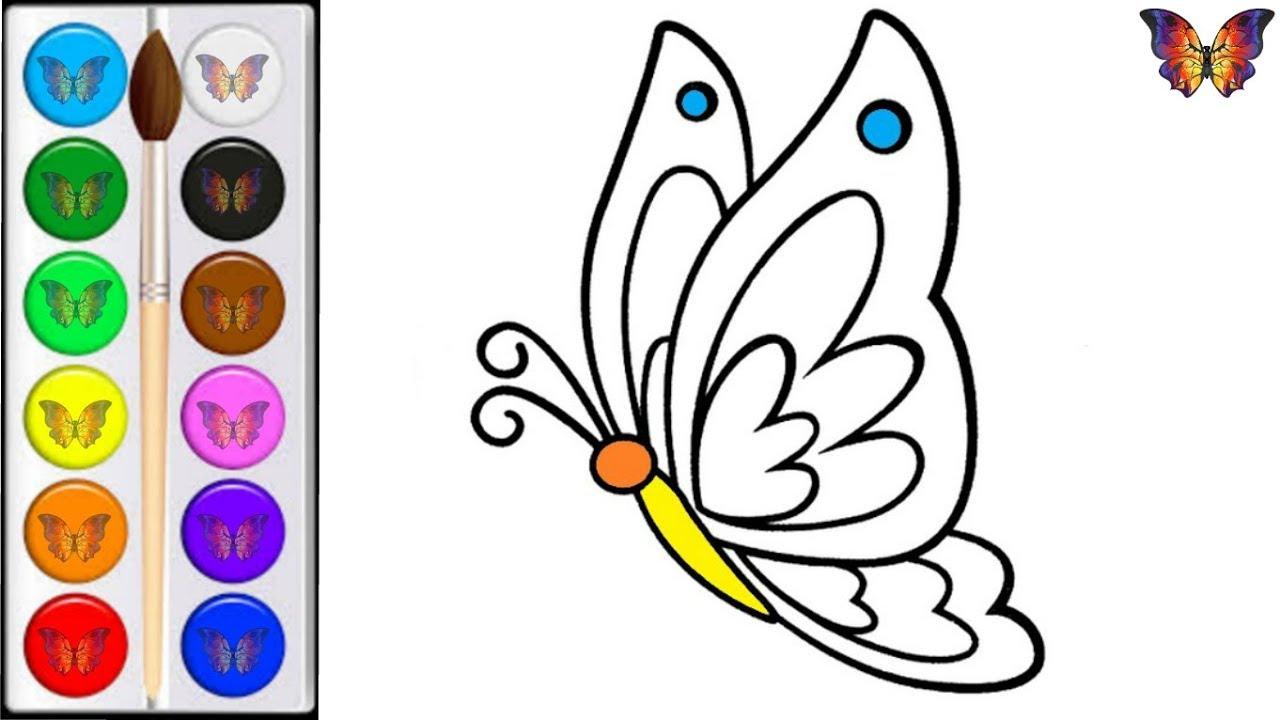 Как нарисовать БАБОЧКУ / мультик раскраска ЯРКАЯ БАБОЧКА ...